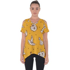 Funny Halloween Party Pattern Cut Out Side Drop Tee