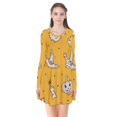 Funny Halloween Party Pattern Long Sleeve V Neck Flare Dress