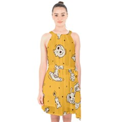 Funny Halloween Party Pattern Halter Collar Waist Tie Chiffon Dress