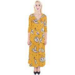 Funny Halloween Party Pattern Quarter Sleeve Wrap Maxi Dress