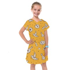 Funny Halloween Party Pattern Kids  Drop Waist Dress