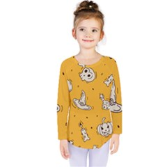 Funny Halloween Party Pattern Kids  Long Sleeve Tee