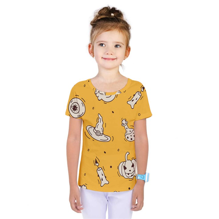 Funny Halloween Party Pattern Kids  One Piece Tee