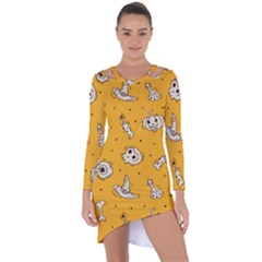Funny Halloween Party Pattern Asymmetric Cut Out Shift Dress