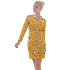 Funny Halloween Party Pattern Button Long Sleeve Dress