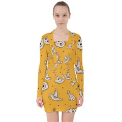 Funny Halloween Party Pattern V Neck Bodycon Long Sleeve Dress