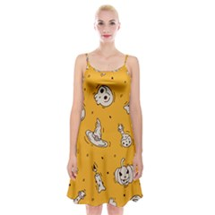 Funny Halloween Party Pattern Spaghetti Strap Velvet Dress