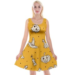 Funny Halloween Party Pattern Reversible Velvet Sleeveless Dress