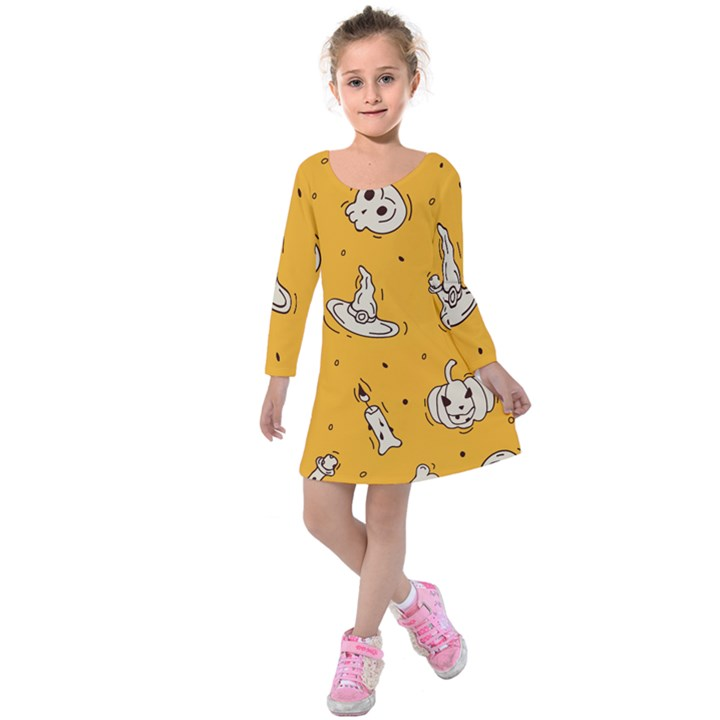 Funny Halloween Party Pattern Kids  Long Sleeve Velvet Dress
