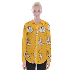 Funny Halloween Party Pattern Womens Long Sleeve Shirt