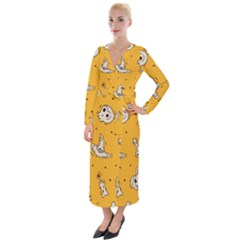Funny Halloween Party Pattern Velvet Maxi Wrap Dress