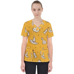 Funny Halloween Party Pattern Women s V Neck Scrub Top