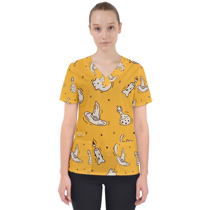 Funny Halloween Party Pattern Women s V-Neck Scrub Top