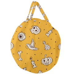 Funny Halloween Party Pattern Giant Round Zipper Tote