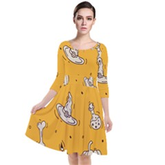 Funny Halloween Party Pattern Quarter Sleeve Waist Band Dress