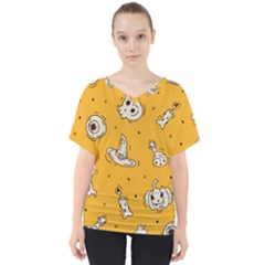 Funny Halloween Party Pattern V Neck Dolman Drape Top