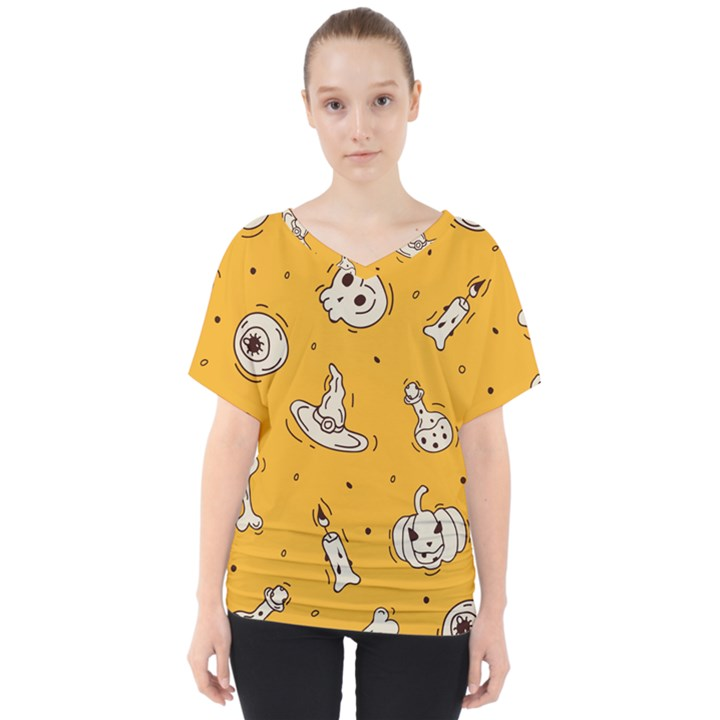 Funny Halloween Party Pattern V-Neck Dolman Drape Top