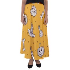 Funny Halloween Party Pattern Flared Maxi Skirt