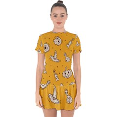 Funny Halloween Party Pattern Drop Hem Mini Chiffon Dress