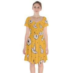 Funny Halloween Party Pattern Short Sleeve Bardot Dress