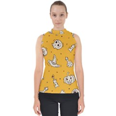 Funny Halloween Party Pattern Mock Neck Shell Top
