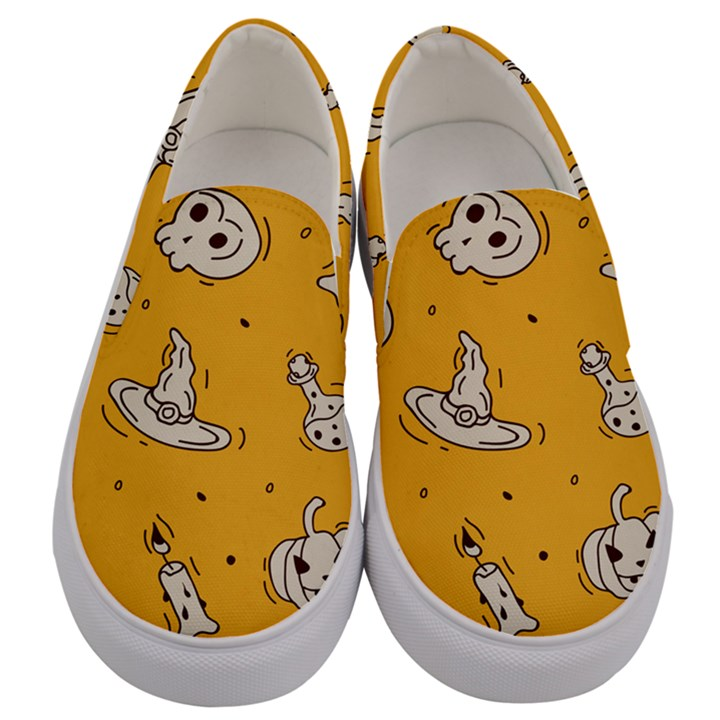 Funny Halloween Party Pattern Men s Canvas Slip Ons