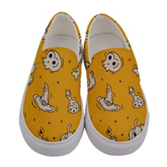 Funny Halloween Party Pattern Women s Canvas Slip Ons