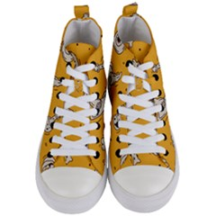 Funny Halloween Party Pattern Women s Mid Top Canvas Sneakers
