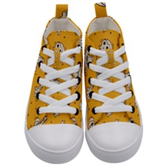 Funny Halloween Party Pattern Kid s Mid Top Canvas Sneakers