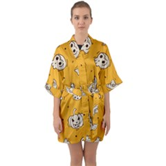 Funny Halloween Party Pattern Quarter Sleeve Kimono Robe