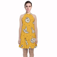 Funny Halloween Party Pattern Velvet Halter Neckline Dress