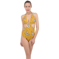 Funny Halloween Party Pattern Halter Front Plunge Swimsuit