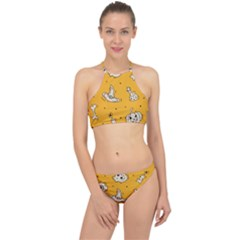 Funny Halloween Party Pattern Racer Front Bikini Set