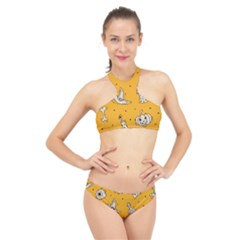 Funny Halloween Party Pattern High Neck Bikini Set