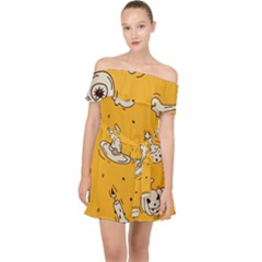 Funny Halloween Party Pattern Off Shoulder Chiffon Dress