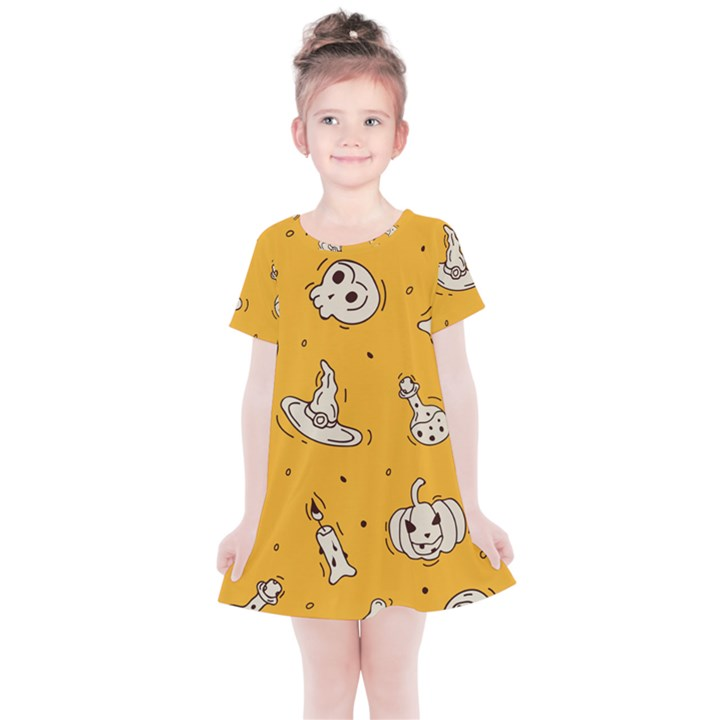 Funny Halloween Party Pattern Kids  Simple Cotton Dress