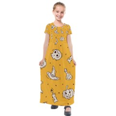 Funny Halloween Party Pattern Kids  Short Sleeve Maxi Dress