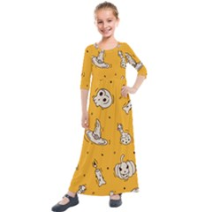 Funny Halloween Party Pattern Kids  Quarter Sleeve Maxi Dress