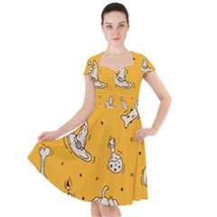 Funny Halloween Party Pattern Cap Sleeve Midi Dress