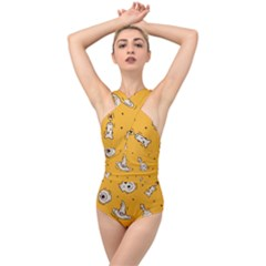 Funny Halloween Party Pattern Cross Front Low Back Swimsuit