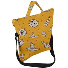 Funny Halloween Party Pattern Fold Over Handle Tote Bag by HalloweenParty