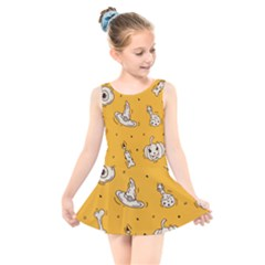 Funny Halloween Party Pattern Kids  Skater Dress Swimsuit