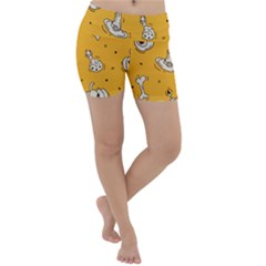 Funny Halloween Party Pattern Lightweight Velour Yoga Shorts