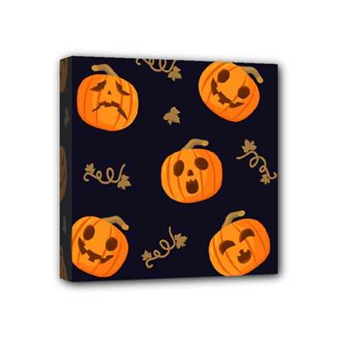 Funny Scary Black Orange Halloween Pumpkins Pattern Mini Canvas 4  X 4  (stretched)