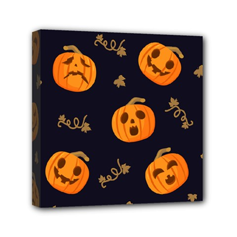 Funny Scary Black Orange Halloween Pumpkins Pattern Mini Canvas 6  X 6  (stretched)