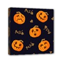 Funny Scary Black Orange Halloween Pumpkins Pattern Mini Canvas 6  x 6  (Stretched) View1