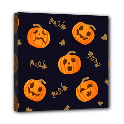 Funny Scary Black Orange Halloween Pumpkins Pattern Mini Canvas 8  X 8  (stretched)