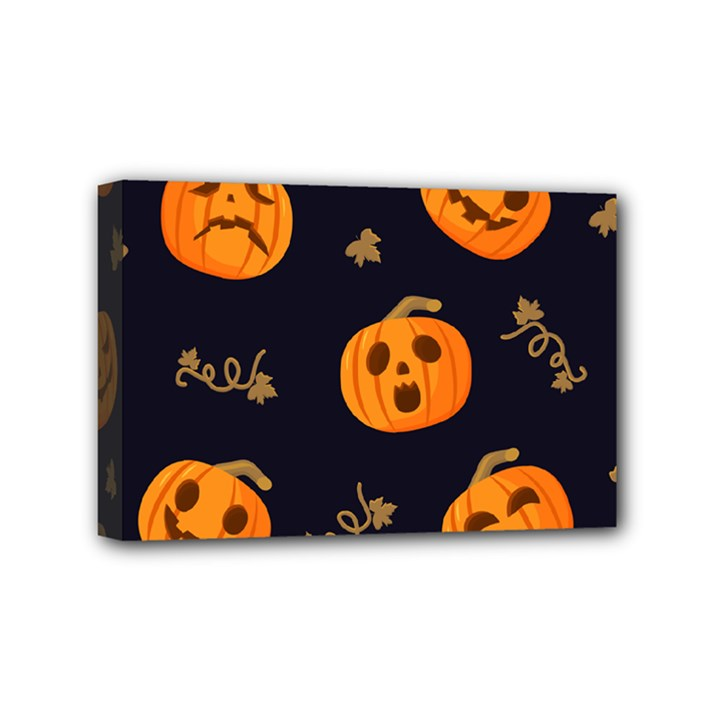 Funny Scary Black Orange Halloween Pumpkins Pattern Mini Canvas 6  x 4  (Stretched)