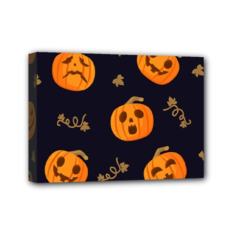 Funny Scary Black Orange Halloween Pumpkins Pattern Mini Canvas 7  X 5  (stretched)