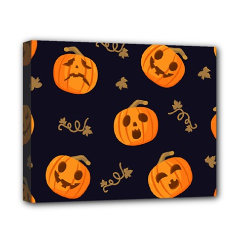Funny Scary Black Orange Halloween Pumpkins Pattern Canvas 10  X 8  (stretched)